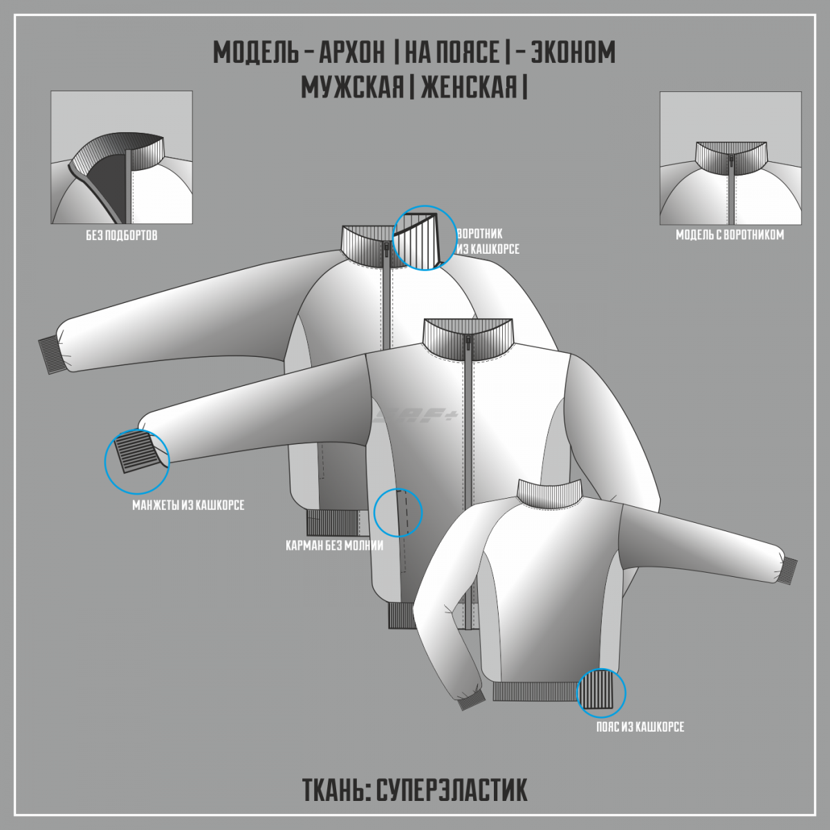 АРХОН- СУПЕРЭЛАСТИК ЭКОНОМ куртка на поясе (Частичная сублимация)