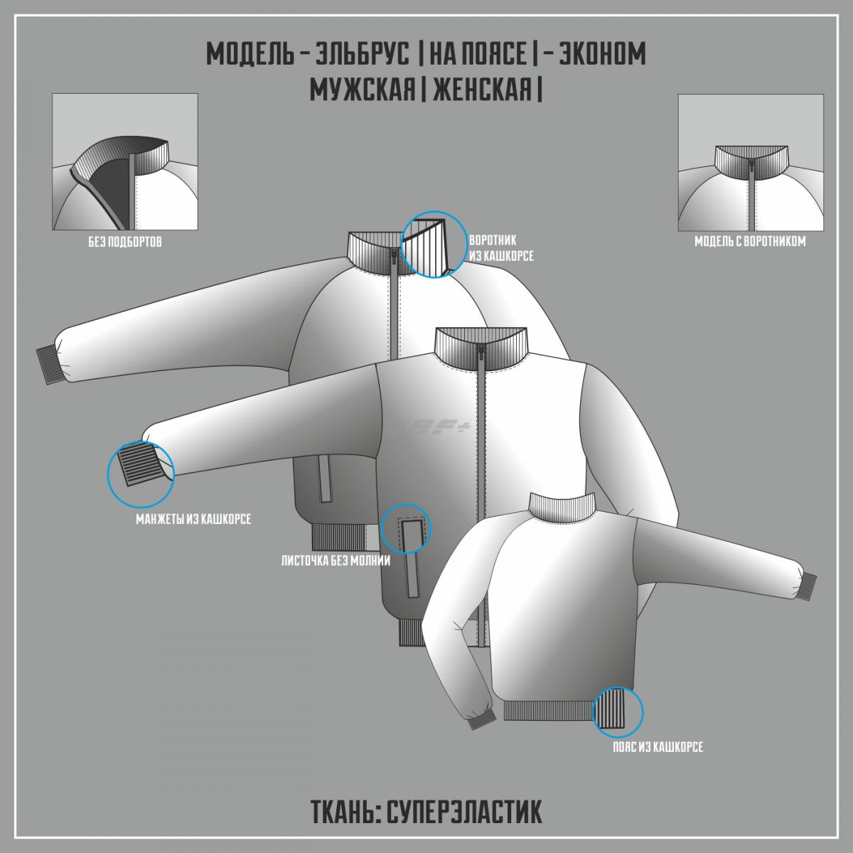 ЭЛЬБРУС- СУПЕРЭЛАСТИК ЭКОНОМ куртка на поясе (Полная сублимация)