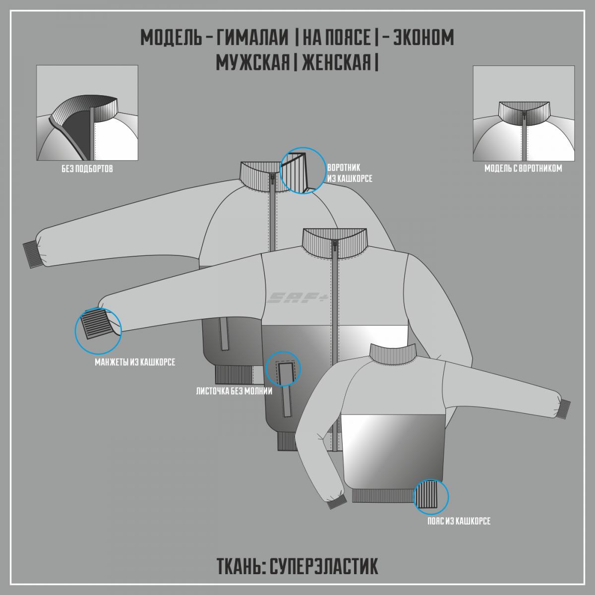 ГИМАЛАИ- СУПЕРЭЛАСТИК ЭКОНОМ куртка на поясе (Частичная сублимация)