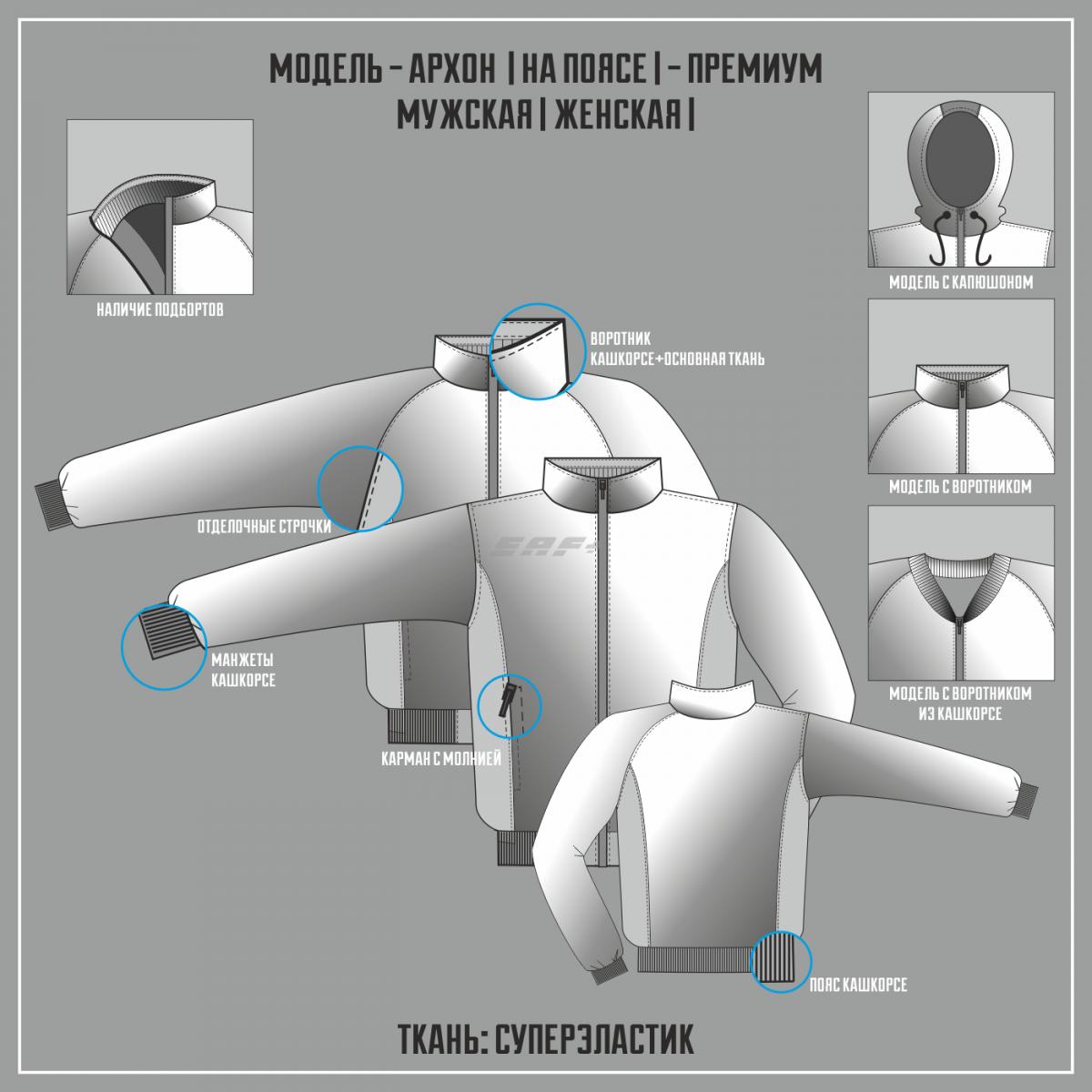 АРХОН-СУПЕРЭЛАСТИК ПРЕМИУМ куртка на поясе (Частичная сублимация)