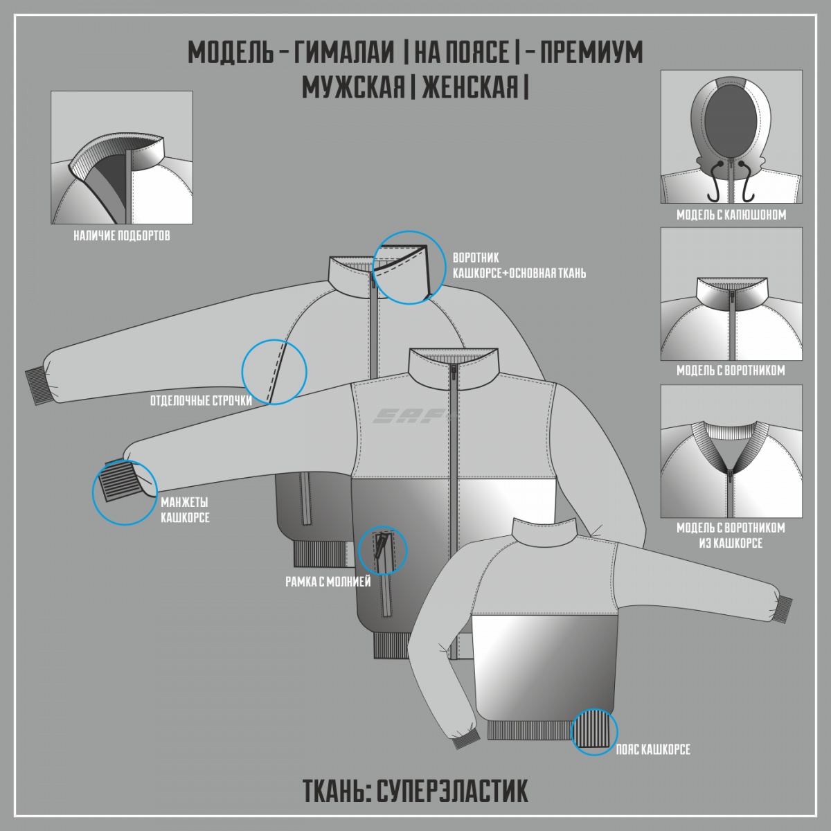 ГИМАЛАИ-СУПЕРЭЛАСТИК ПРЕМИУМ куртка на поясе (Частичная сублимация)