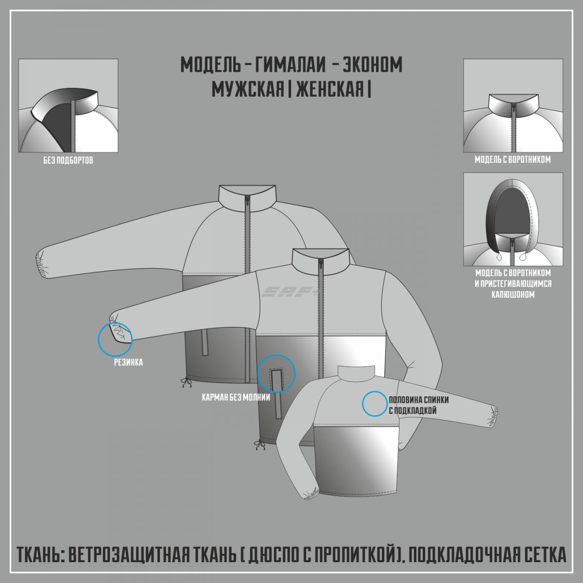 ГИМАЛАИ-ЭКОНОМ ветровка (Частичная сублимация)