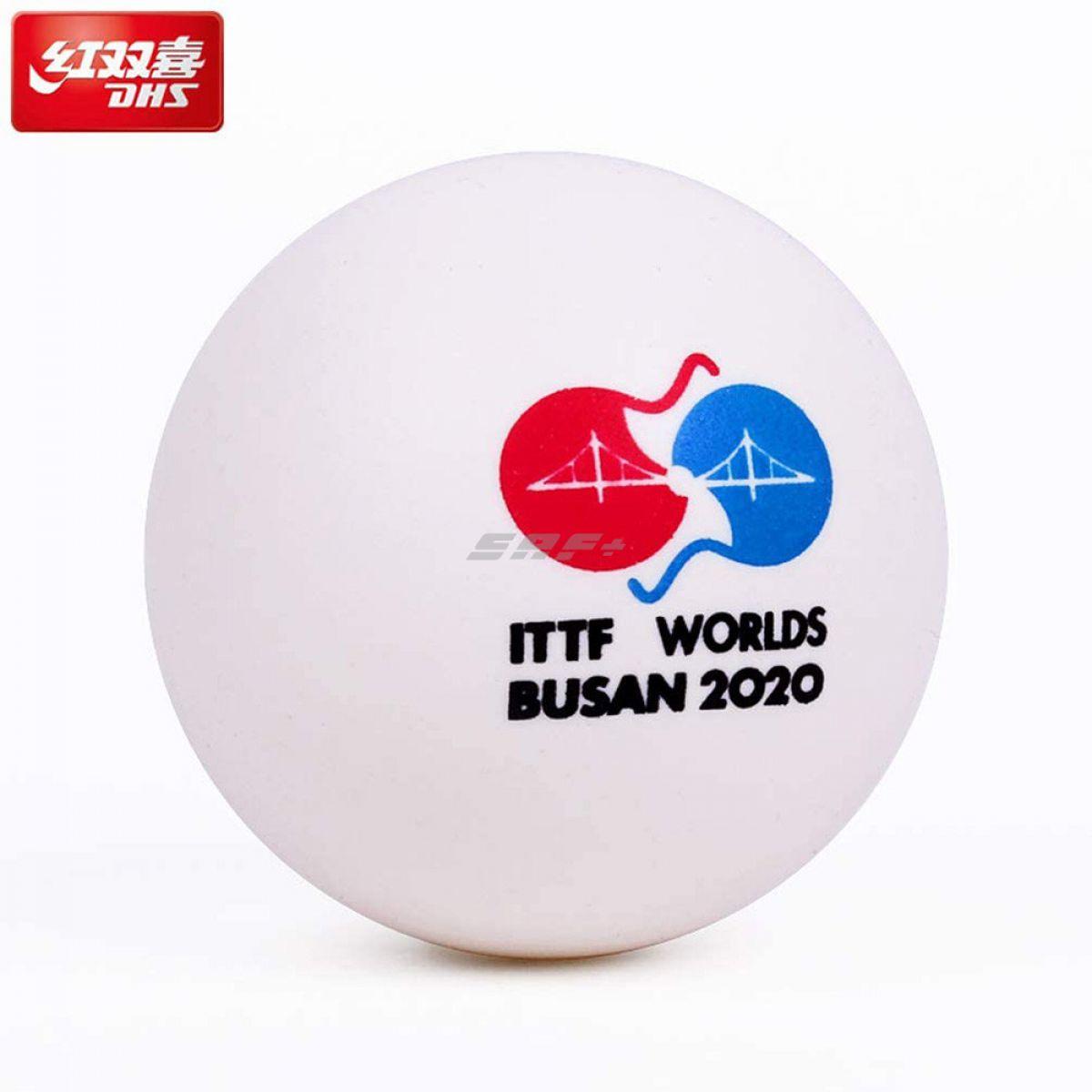 Мяч для наст. тенниса DHS 3*** Busan, арт. DJ40W, диам.40+, пластик, ITTF Appr., упак. 6 шт, белый