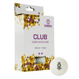 Мяч для наст. тенниса TORRES Club 2*, арт. TT21014, диам. 40+мм, упак. 6 шт, белый