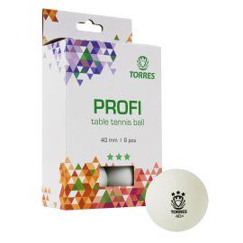 Мяч для наст. тенниса TORRES Profi 3*, арт. TT21012, диам. 40+мм, упак. 6 шт, белый