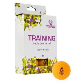 Мяч для наст. тенниса TORRES  Training 1*, арт. TT21015, диам. 40+ мм, упак. 6 шт, оранж