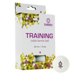 Мяч для наст. тенниса TORRES  Training 1*,  арт. TT21016, диам. 40+ мм, упак. 6 шт, белый
