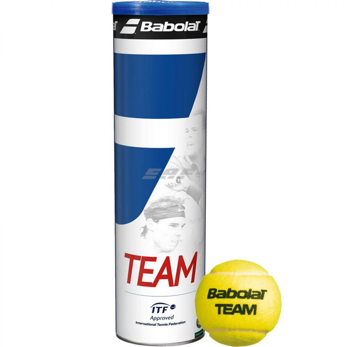Мяч теннисный Мяч теннисный BABOLAT Team 4B,арт.502035, уп.4 шт,одобр.ITF,фетр,нат.резина,желтый