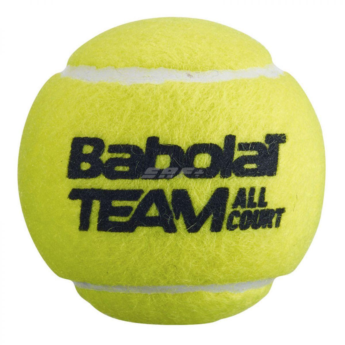 Мяч теннисный Мяч теннисный BABOLAT Team All Court,арт.501083, уп.3 шт,одобр.ITF,фетр, нат.резина,желтый