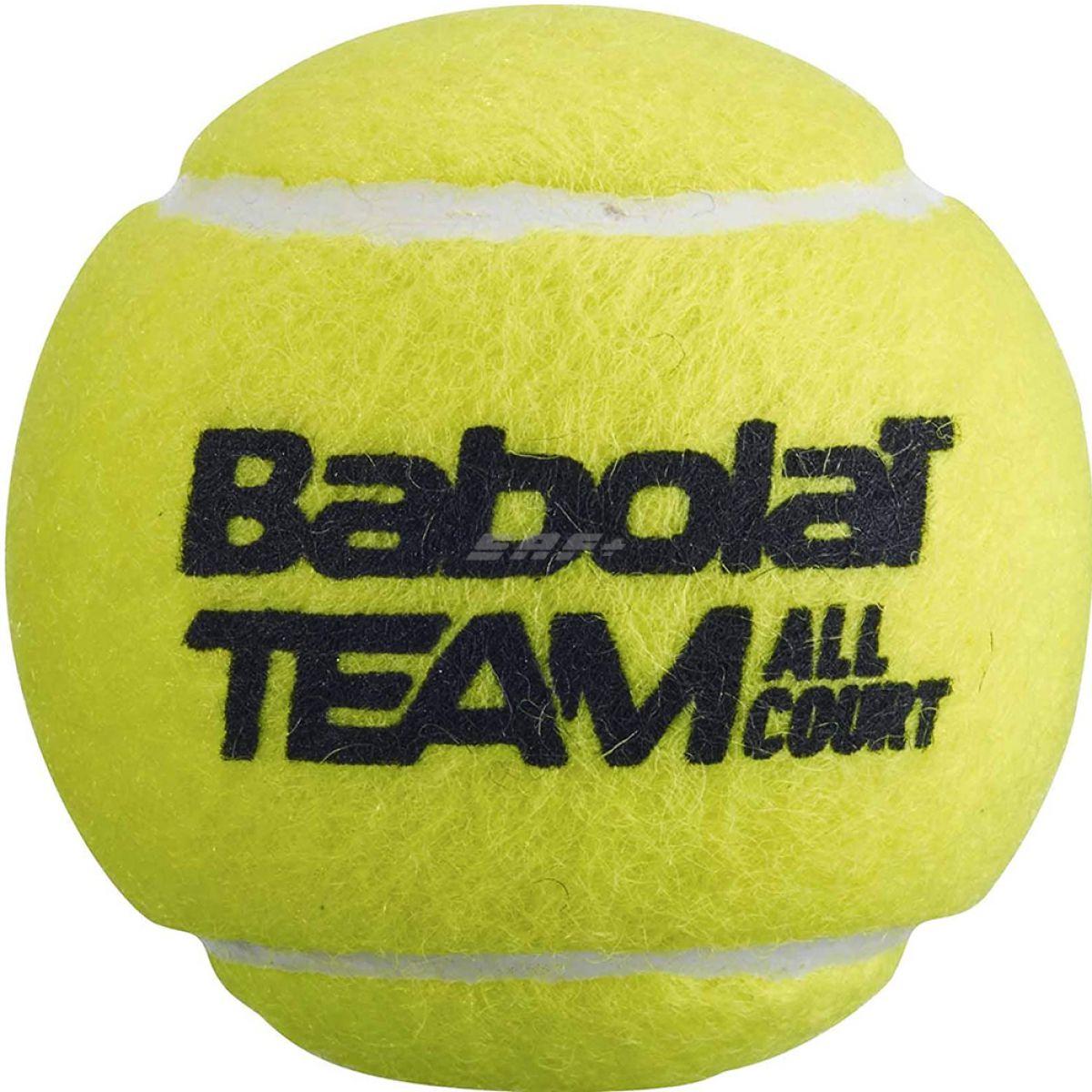 Мяч теннисный BABOLAT Team All Court,арт.502081, уп.4 шт,одобр.ITF, сукно, нат.резина,желтый