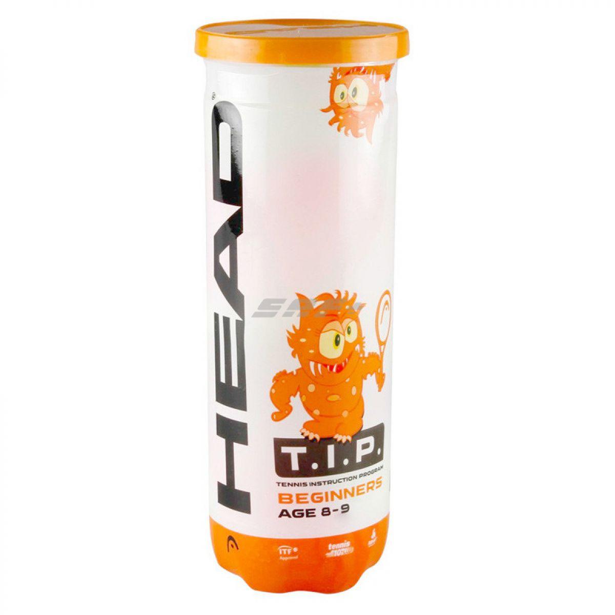 Мяч теннисный Мяч теннисный HEAD T.I.P Orange, арт.578123,уп.3 шт, фетр,нат.резина,желто-оранжевый
