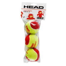 Мяч теннисный Мяч теннисный HEAD T.I.P Red, арт.578113,уп.3 шт, фетр,нат.резина,желто-красный