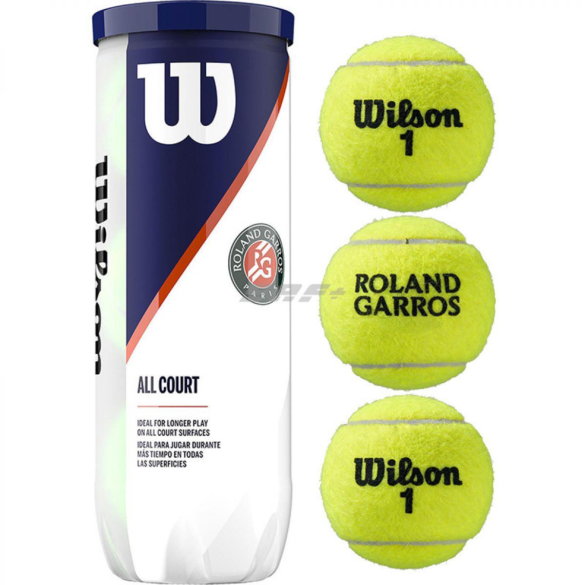 Мяч теннисный Мяч теннисный WILSON Roland Garros All Court арт. WRT126400, одобр.ITF, фетр, нат.резина,. уп.3 шт