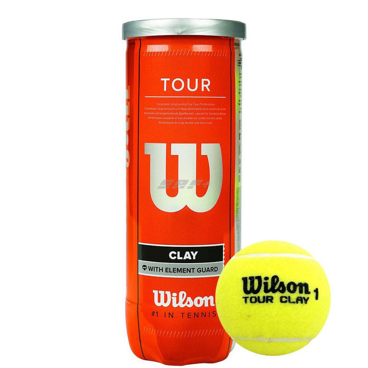 Мяч теннисный WILSON Tour Clay, арт. WRT108900,одобр.ITF и USTA,фетр,нат.резина, уп.3 шт, желтый