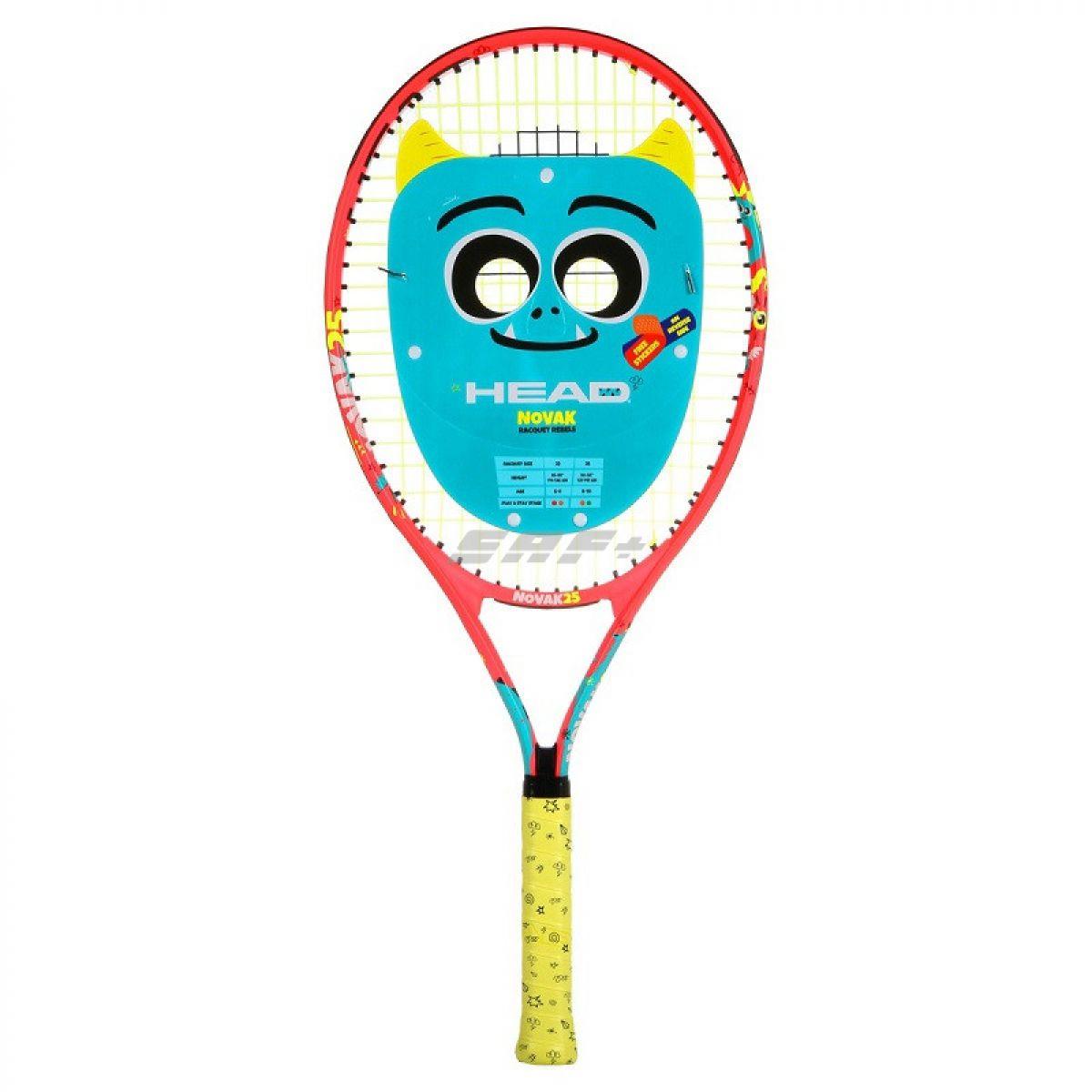 Ракетка теннисная Ракетка б/т дет. HEAD Novak 23 Gr06, арт.233510, для 6-8 лет, алюм., со струнами, красн-cине-желтый