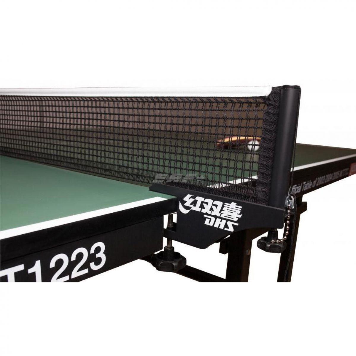 Сетка для наст. тенниса DHS P118 ITTF,в компл.с мет.стойками,ITTF Ap,измерит.высоты, черная